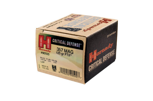 Hornady Critical Defense - 357 Magnum 125 Grain FTX - 25 Rounds W/ Free Ammo Can