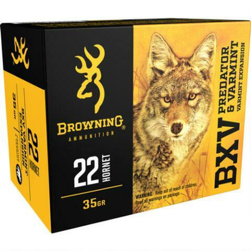 Browning Ammunition - 22 Hornet - 35 Grain BXV Varmint Expansion - 100 Rounds W/ Free Ammo Can