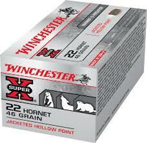 Winchester Super-X Ammunition - 22 Hornet - 46 Grain Jacketed Hollow Point - 100 Rounds W/ Free Ammo Can