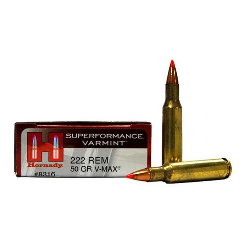 Hornady Superformance Varmint - 222 Remington - 50 Grain V-Max - 100 Rounds W/ Free Ammo Can