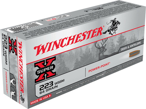 Winchester Super-X Ammunition - 223 WSSM - 64 Grain Jacketed Soft Point - 60 Rounds W/ Free Ammo Can