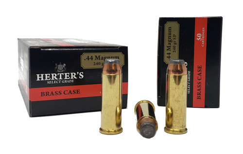 Herter's Ammunition - 44 Rem Magnum - 240 Grain Soft Point - 50 Rounds W/ Free Ammo Can