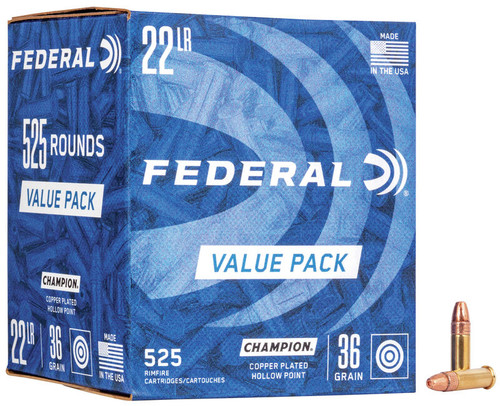 Federal Ammunition - 22 Long Rifle - 36 Grain Copper Plated Hollow Point - 1050 Rounds W/ Free Ammo Can