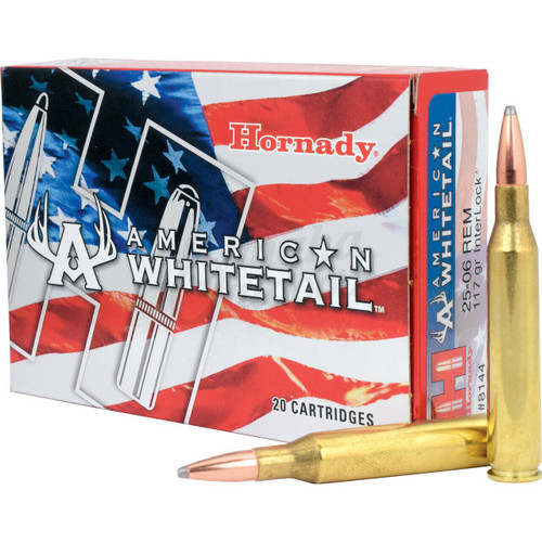 Hornady American Whitetail - 25-06 Remington - 117 Grain InterLock - 100 Rounds W/ Free Ammo Can