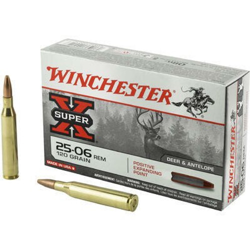 Winchester Super-X Ammunition - 25-06 Remington - 120 Grain Positive Expanding Point - 80 Rounds W/ Free Ammo Can