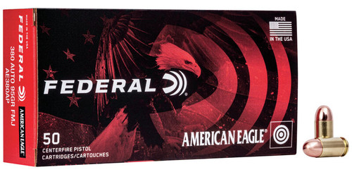 Federal American Eagle Ammunition - 380 Auto - 95 Grain Full Metal Jacket - 100 Rounds W/ Free Ammo Can