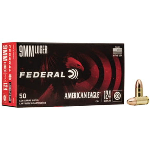 Federal American Eagle Ammunition - 9MM - 124 Grain Full Metal Jacket - 100 Rounds W/ Free Ammo Can
