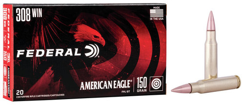 Federal American Eagle Ammunition - 308 Win - 150 Grain Full Metal Jacket Boat Tail - 100 Rounds