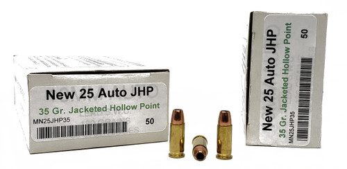 Miwall New Ammunition - 25 ACP - 35 Grain Jacketed Hollow Point - 50 Rounds W/ Free Ammo Can