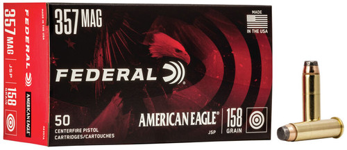 Federal American Eagle Ammunition - 357 Mag - 158 Grain Jacketed Soft Point - 50 Rounds W/ Free Ammo Can