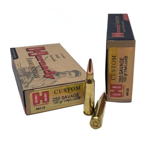 Hornady Custom Ammunition - 250 Savage - 100 Grain Interlock - 100 Rounds W/ Free Ammo Can