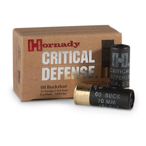 """Hornady Critical Defense Ammunition - 12 GA - 2 3/4"""" - 00 Buck 8 Pellets - 20 Rounds W/ Free Ammo Can"""