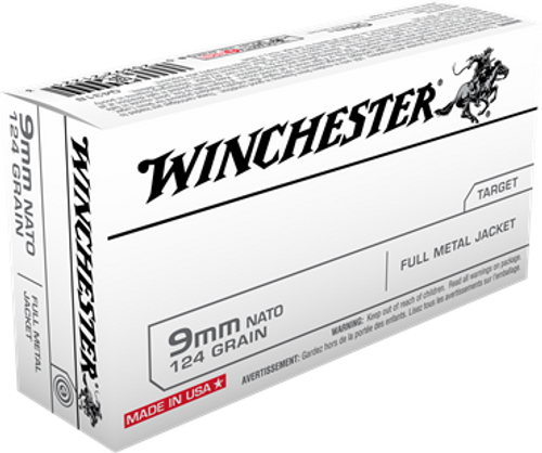 Winchester NATO - 9mm Luger 124 Grain Full Metal Jacket - 500 Rounds - Brass Case