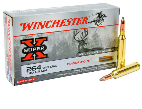 Winchester Super-X Ammunition - 264 Winchester Mag - 140 Grain Power Point - 40 Rounds W/ Free Ammo Can