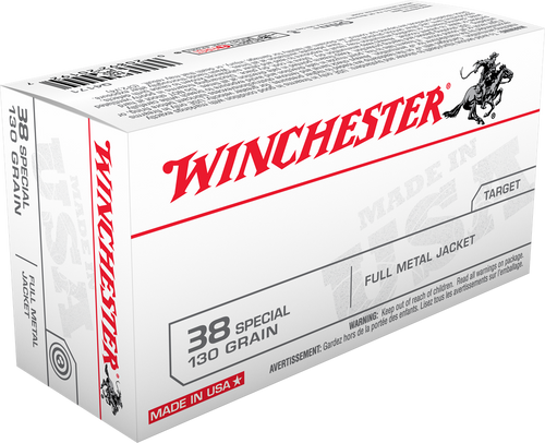 Winchester USA Ammunition 38 Special 130 Grain Full Metal Jacket - 500 Rounds - CASE