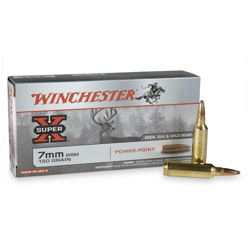 Winchester Super-X Ammunition - 7 MM Winchester Short Mag - 150 Grain Power Point - 60 Rounds W/ Free Ammo Can