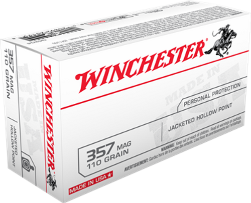Winchester USA Ammunition 357 Magnum 110 Grain Jacketed Hollow Point - 500 Rounds - CASE