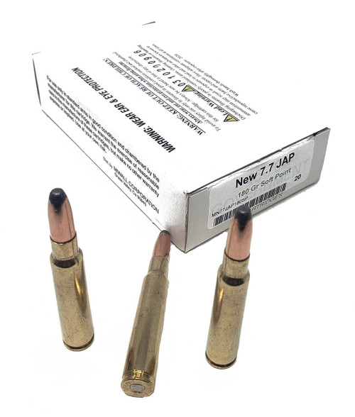 Miwall New Ammunition - 7.7 Japanese - 180 Grain Soft Point - 80 Rounds W/ Free Ammo Can