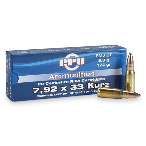 Prvi Partizan Ammunition - 7.92x33MM Kurz - 124 Grain Full Metal Jacket - 60 Rounds W/ Free Ammo Can