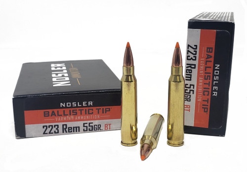 Nosler Varmint Tip Ammunition - 223 Remington - 55 Grain Ballistic Tip - 100 Rounds W/ Free Ammo Can