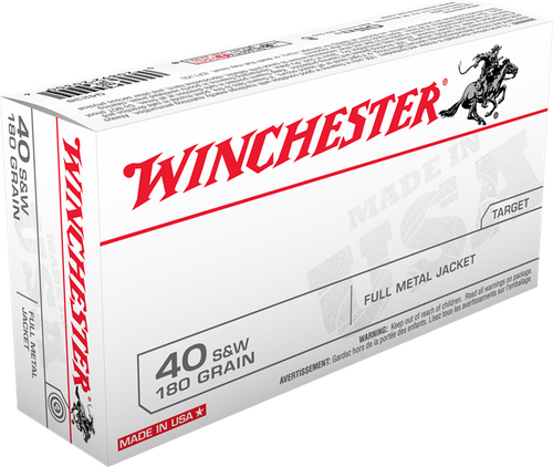 Winchester USA - 40 S&W 180 Grain Full Metal Jacket - 500 Rounds - Brass Case