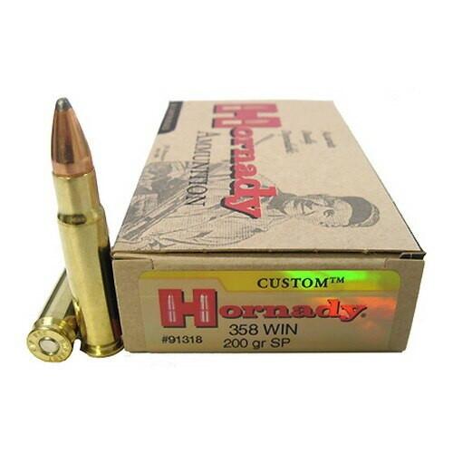 Hornady Custom Ammunition - 358 Winchester - 200 Grain Soft Point - 100 Rounds W/ Free Ammo Can