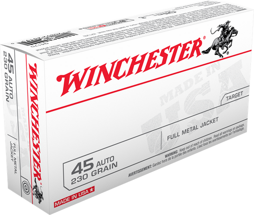 Winchester USA Ammunition 45 ACP 230 Grain Full Metal Jacket - 500 Rounds - CASE