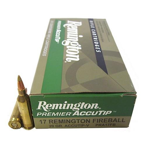 Remington Premier Ammunition - 17 Remington Fireball - 20 Grain  AccuTip-V - 100 Rounds W/ Free Ammo Can