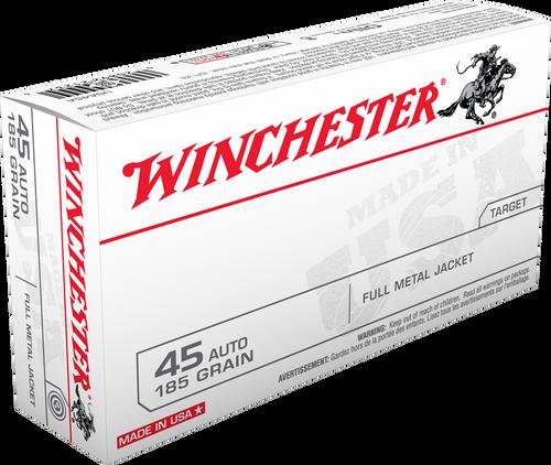 Winchester Ammunition - 45 Auto - 185 Grain Full Metal Jacket - 500 Rounds - Case