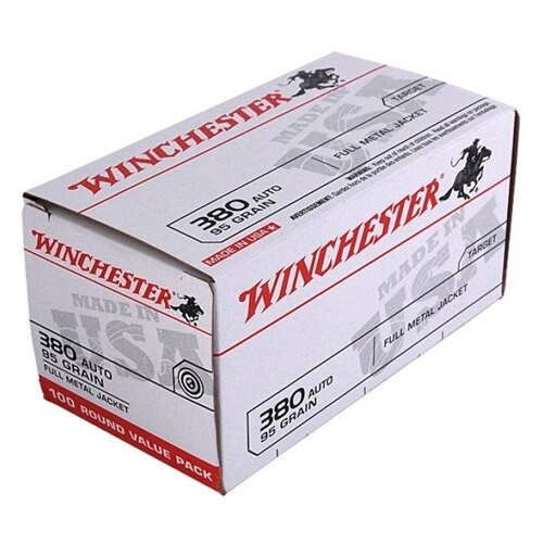 Winchester Ammunition - 380 Auto - 95 Grain Full Metal Jacket - 100 Rounds W/ Free Ammo Can