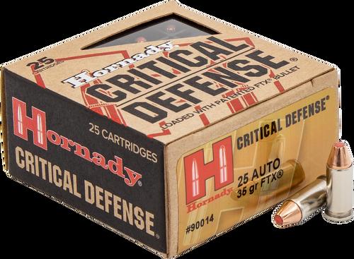 Hornady Critical Defense - 25 ACP 35 Grain FTX - 250 Rounds - Brass Case