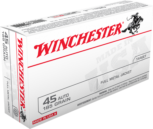 Winchester Ammunition - 45 Auto - 185 Grain Full Metal Jacket - 100 Rounds - Brass Case