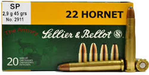 Sellier & Bellot - 22 Hornet  Ammunition - 45 Grain - Soft Point - 200 Rounds W/ Free Ammo Can