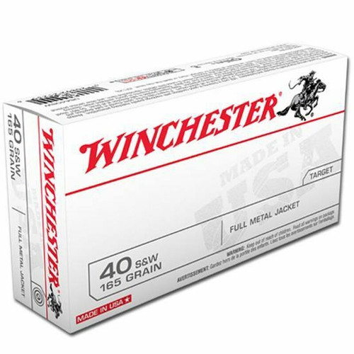 Winchester Ammunition - 40 S&W - 165 Grain Full Metal Jacket - 100 Rounds - Brass Case