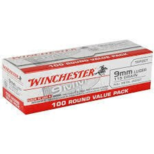 Winchester Ammunition - 9 MM - 115 Grain Full Metal Jacket - 100 Rounds W/ Free Ammo Can