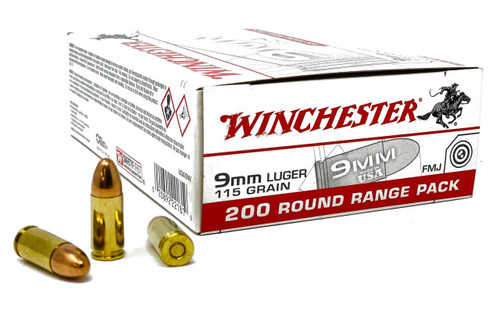Winchester Ammunition - 9 MM - 115 Grain Full Metal Jacket- 200 Rounds W/ Free Ammo Can