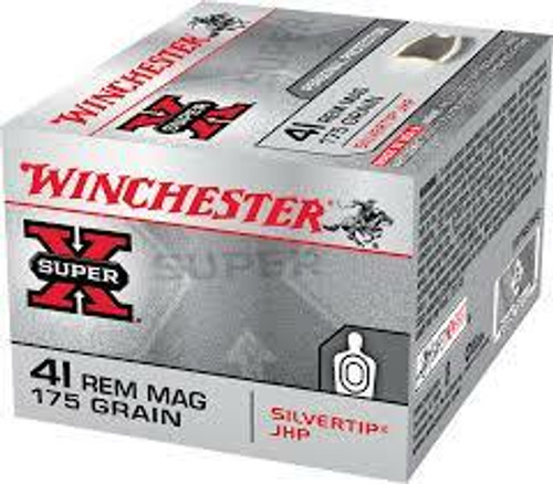 Winchester Ammunition - 41 Rem Magnum - 175 Grain Silver Tip Jacketed Hollow Point - 40 Rounds W/ Free Ammo Can