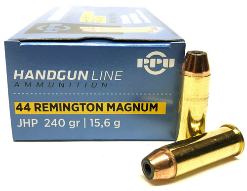 Prvi Partizan Ammunition - 44 Magnum - 240 Grain Jacketed Hollow Point - 50 Rounds W/ Free Ammo Can - Brass Case