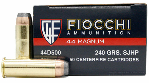 Fiocchi Ammunition - 44 Remington Magnum - 240 Grain Semi Jacketed Hollow Point - 50 Rounds W/ Free Ammo Can