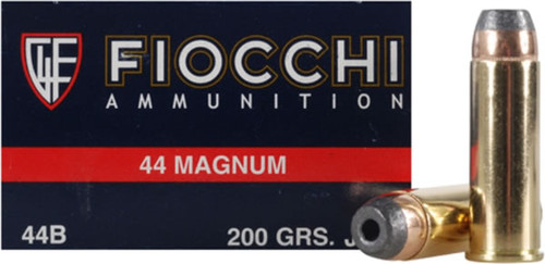 Fiocchi Ammunition - 44 Remington Magnum - 200 Grain Jacket Hollow Point - 50 Rounds - Brass Case