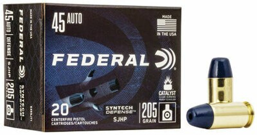 Federal Syntech Defense Ammunition - 45 Auto - 205 Grain Segmenting Hollow Point - 40 Rounds W/ Free Ammo Can