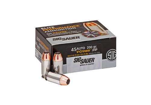 Sig Sauer Elite Performance Ammunition - 45 ACP - 200 Grain V-Crown Jacketed Hollow Point  - 40 Rounds W/ Free Ammo Can