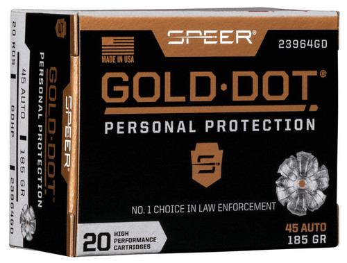 Speer Gold Dot Ammunition - 45 Auto - 185 Grain Gold Dot Hollow Point - 40 Rounds W/ Free Ammo Can