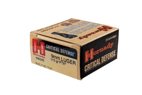 Hornady Critical Defense - 9mm Luger 115 Grain FTX - 250 Rounds - Brass Case