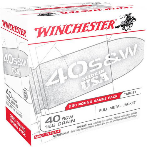 Winchester Ammunition - 40 S&W - 165 Grain Full Metal Jacket - 400 Rounds W/ Free Ammo Can