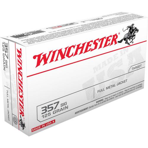 Winchester Ammunition - 357 Sig - 125 Grain Full Metal Jacket - 100 Rounds - Brass Case