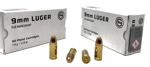 Geco Ammunition - 9 MM Luger - 115 Grain Full Metal Jacket - 200 Rounds W/ Free Ammo Can - Brass Case