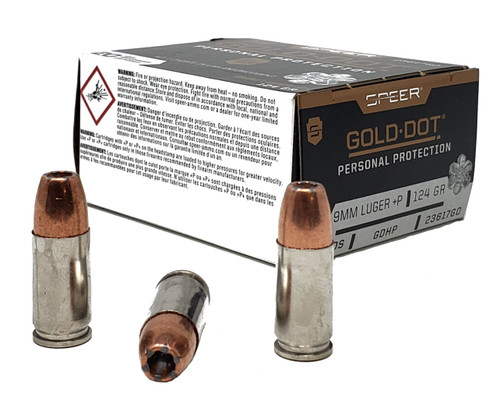 Speer Gold Dot Ammunition - 9 MM +P - 125 Grain Gold Dot Hollow Point - 40 Rounds W/ Free Ammo Can