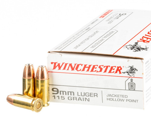 Winchester Ammunition - 9 MM - 115 Grain Jacketed Hollow Point - 100 Rounds W/ Free Ammo Can