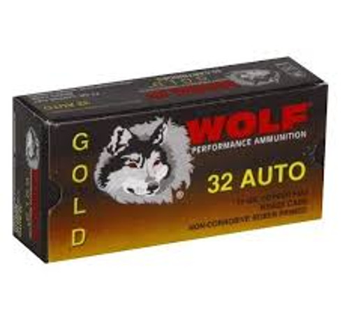 Wolf Gold Ammunition - 32 Auto - 71 Grain Jacketed Hollow Point - 100 Rounds W/ Free Ammo Can